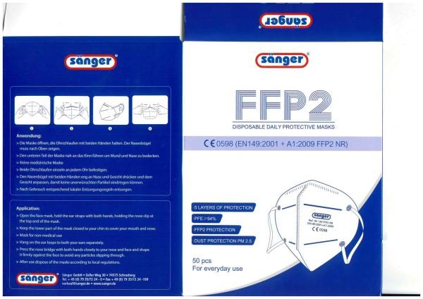 FFP2 Maske Fa. Sänger - 50er Pac